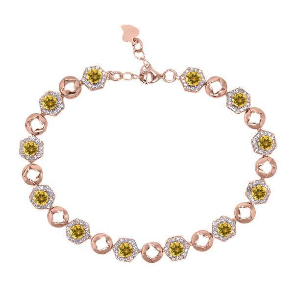 5.93 Ct Round Yellow Citrine 18K Rose Gold Plated Silver Bracelet by