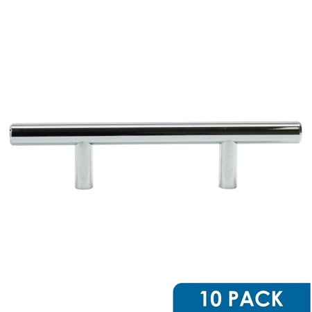 10 Pack Rok Hardware 3' Hole Centers Chrome Kitchen Cabinet Euro Style Drawer Door Steel T Bar Pull Handle Pull 6' Length
