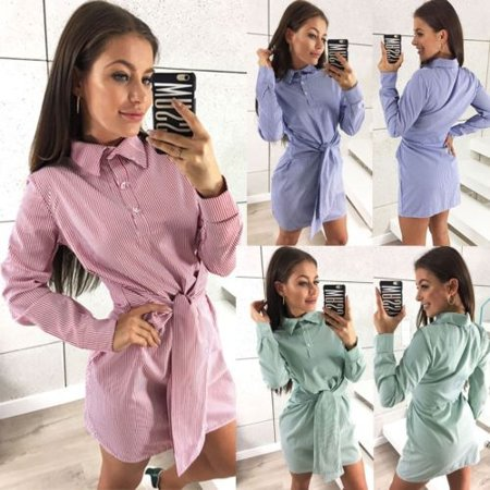 Women Slim Fit Plaid Checks Dresses Long Sleeve tartan Collar Button Shirt Dress (Tartan Plaid Dress)