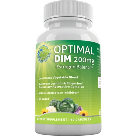 Optimal DIM Supplement 200mg Plus - Estrogen Balance - Whole Foods and Sunflower Lecithin/BioPerine Proprietary Absorption Complex, Aromatase Inhibitor, All Vegan, 60 DRcaps, 2 Month