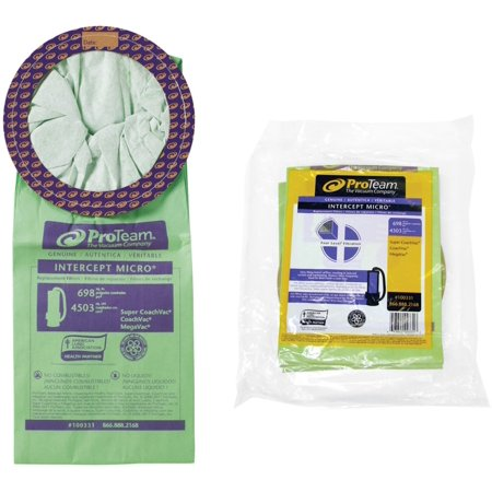ProTeam 100331 10 Quart Intercept Micro Filter Bag with Open Collar for ProTeam Vacuum Cleaners - Pack of 10 (100331 Vacuum Bag)