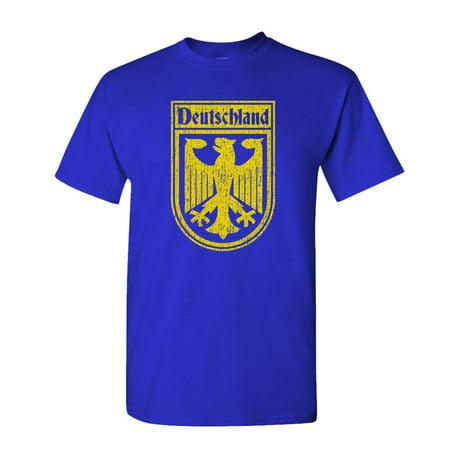 GERMAN SOCCER CREST - football deutschland - Cotton Unisex T-Shirt (XL,Royal) ()