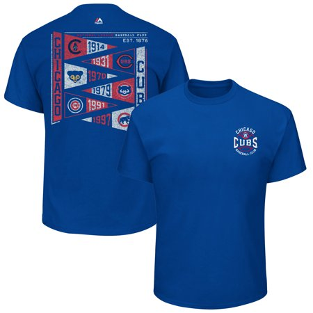 Chicago Cubs Majestic Wave the Pennant T-Shirt - Royal