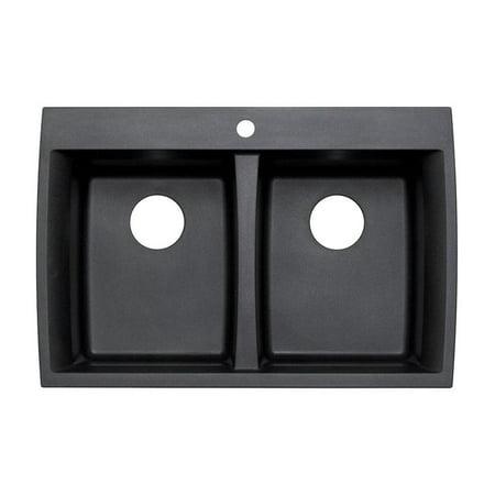 Astracast AS-GX20USSK Double Basin Drop In/Undermount Kitchen Sink - Metallic Black