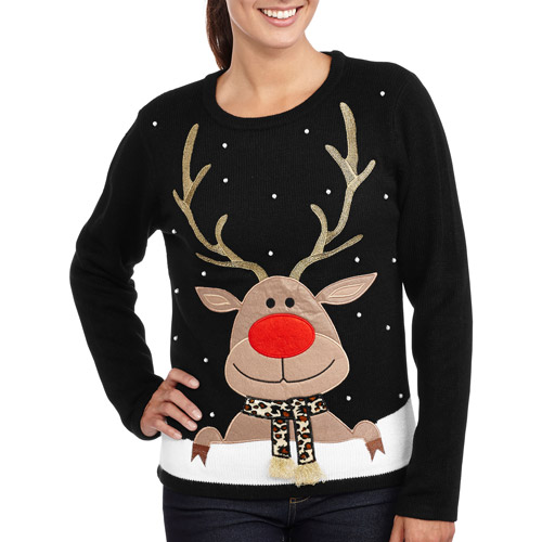 This sweater is a made-by-us exclusive, with a percent acrylic knit sweater, real wreath with ornaments, and a cute plush reindeer head, it really is the ultimate ugly Christmas sweater. Get it to make sure that you beat your uncle or any other ugly sweater wearer at their own game!
