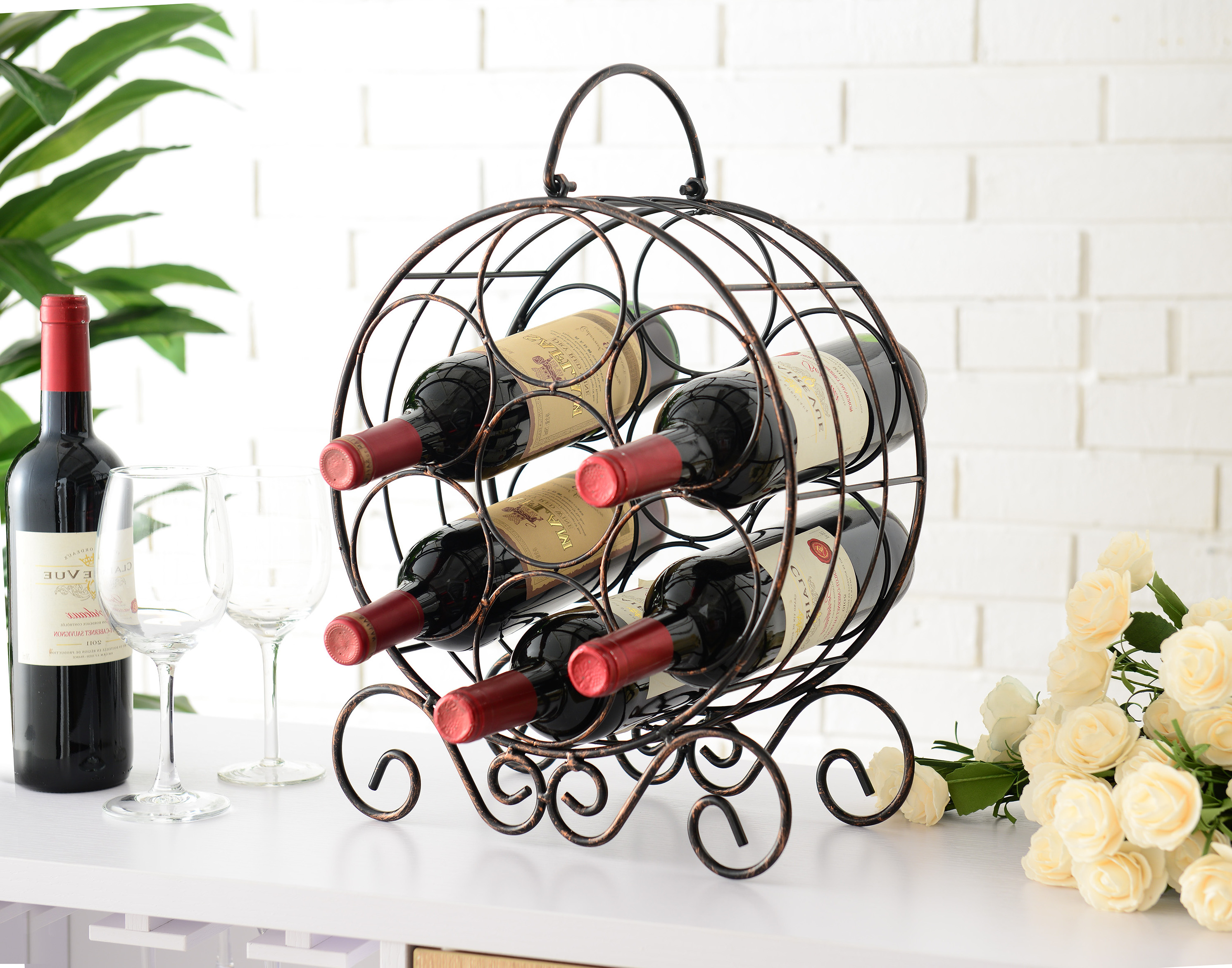 Jaden Copper Iron Transitional Counter Wine Rack Display Stand by Pilaster Designs