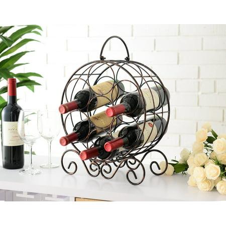Jaden Copper Iron Transitional Counter Wine Rack Display