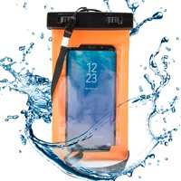 "Waterproof Case Smartphone Dry Pouch (Orange) w/ Neck Lanyard - Compatible w/ iPhone XR/XS/X/8 Galaxy S10/S9/S8 Pixel 3 OnePlus Huawei LG Sony, Phones up to 6"" Great for Swim Pool Beach Bath Travel"