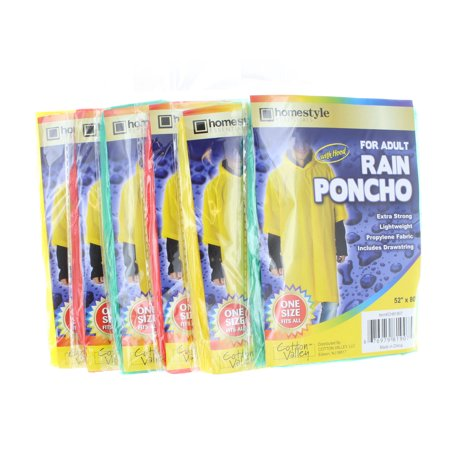 6 Emergency Rain Ponchos with Hood For Adults Assorted Colors