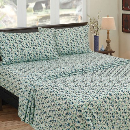 200 Sheet Special Media - Mainstays 200 Thread Count Twin - Fitted Sheet, Sheet Collection, Teal Floral