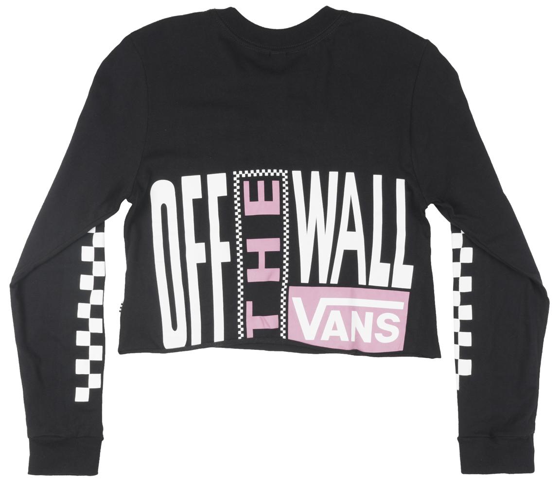 e1c60993d1d Vans - VANS Screen Print Long Sleeve Cropped T-Shirt Skatewear Tee Top  Womens Black - Walmart.com