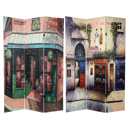 - 6' Tall Double Sided Parisian Street Room Divider