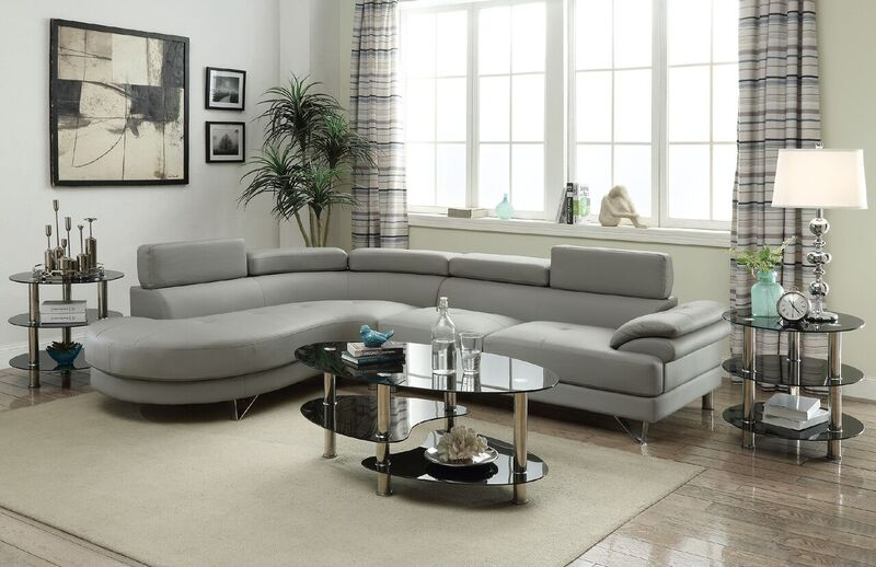 Poundex F6984 Grey Bonded Leather Sectional Sofa