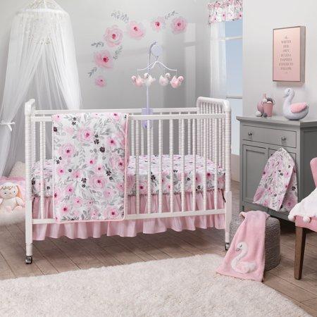 Bedtime Originals Blossom Pink Watercolor Floral 3-Piece Baby Crib Bedding (Blossom Crib Set)