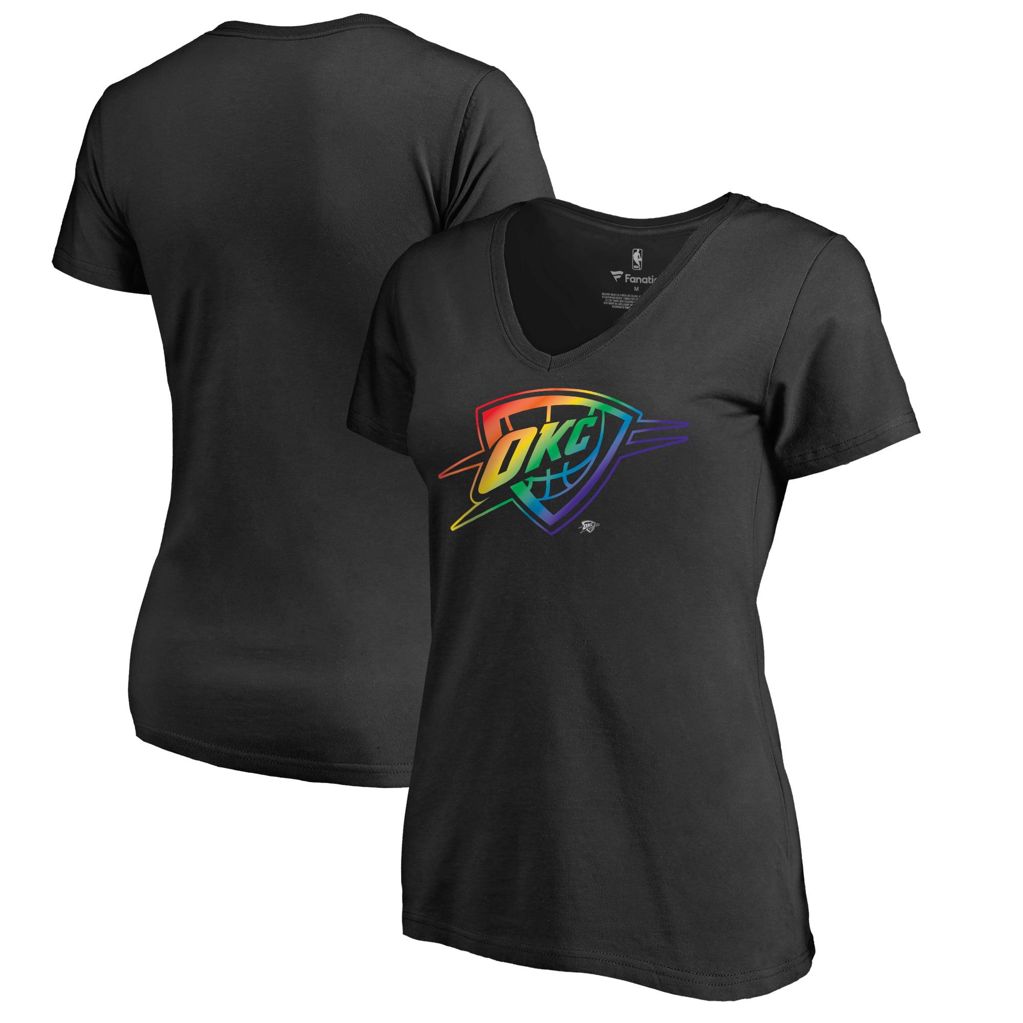 Oklahoma City Thunder Fanatics Branded Women's Team Pride V-Neck T-Shirt - Black