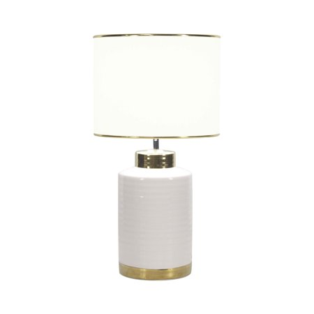 Large Contemporary Style Round White & Gold Ceramic Table Lamp with White Drum