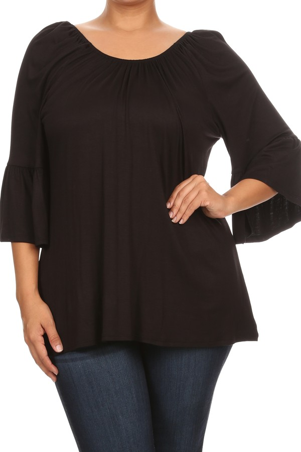 PLUS Women's  3/4 bell sleeves solid  tunic top.