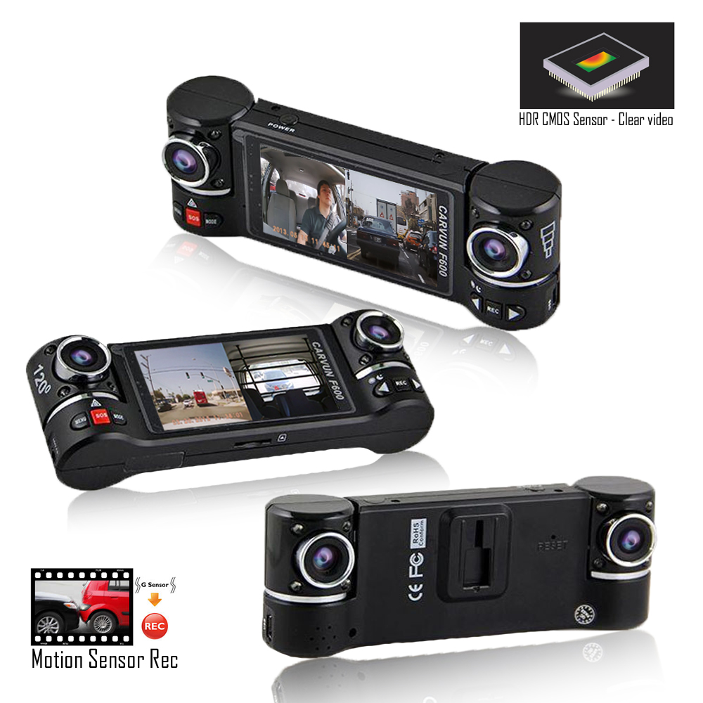 """Indigi 2.7"""" LCD HD Dash CAM ( Motion Activate + Dual Wide Angle Lens + File"""