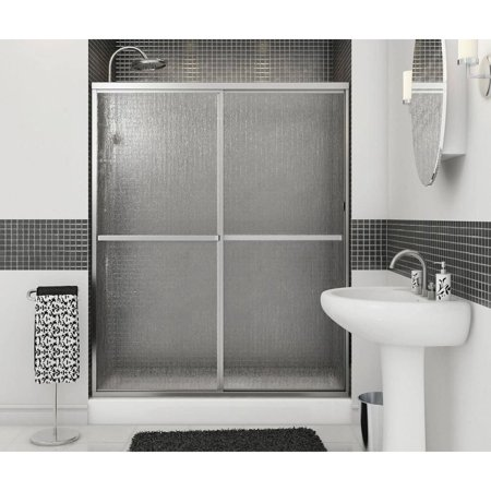MAAX 105412-970-084-000 Polar Framed Slider Alcove Shower Door with Raindrop Glass, Chrome Alcove Shower Doors