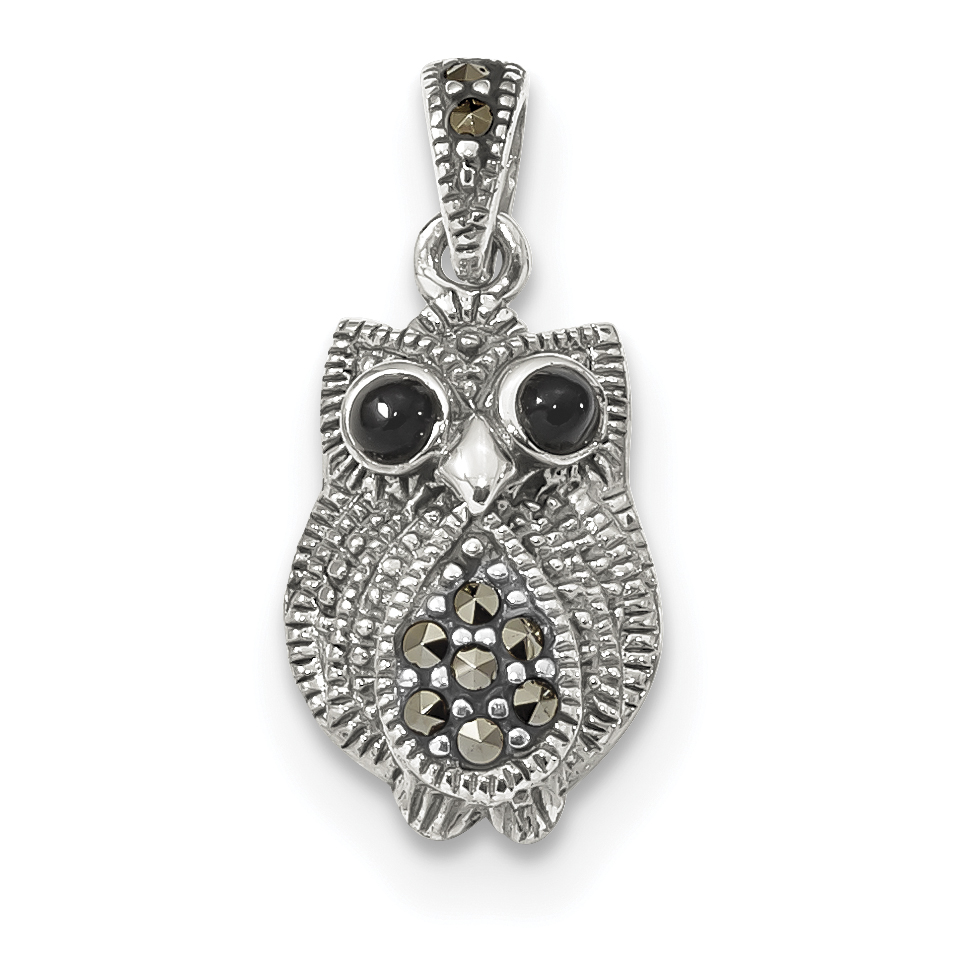 Sterling Silver Marcasite & Black Agate Owl Pendant QP3962