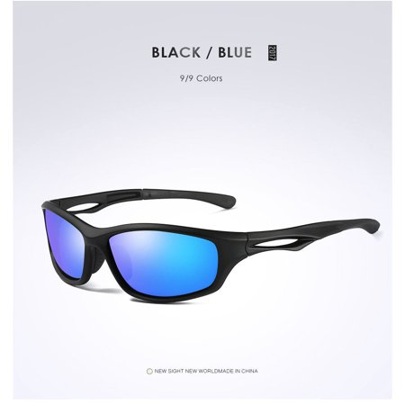 New Blue Mirror Polarized Mens Glasses Wrap Tr90 Frame Sports Driving (Polarized Sports Sunglasses With Tr90 Unbreakable Frame)