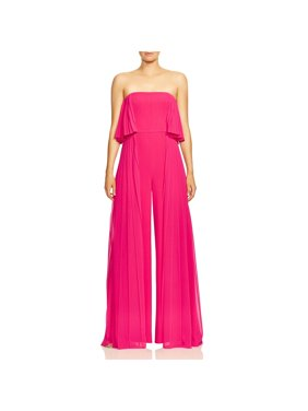 Halston Womens Pleated Wide-Leg Jumpsuit