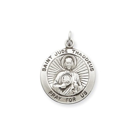 925 Sterling Silver St  Jude Thaddeus Medal Charm Pendant   25Mm