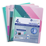 U Style Antimicrobial 1 Subject Notebook with Microban®, 80 Sheets, College Ruled, 4 Pack, Fashion