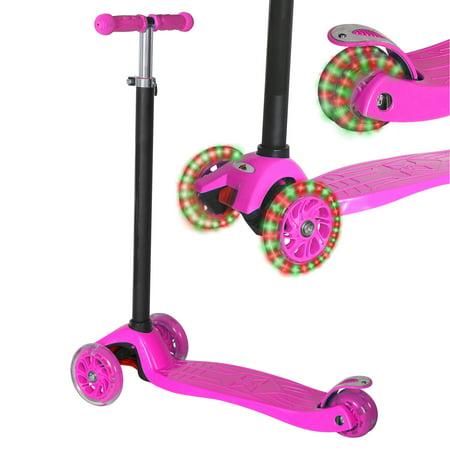 KOBE Junior Pro Mini Scooter - with 4 Swivel LED Light Up Wheels - Kids 2 to 6-yo - Pink - image 1 de 9