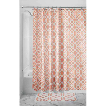 InterDesign Trellis Fabric Shower Curtain Standard 72 X Coral