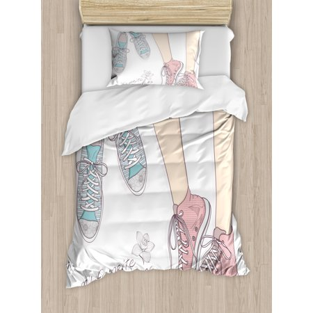 Teen Room Duvet Cover Set, Pair of Shoes in Young Girl Feet with Floral Feminine Fashion Pattern, Decorative Bedding Set with Pillow Shams, Peach Pale Pink Mint, by Ambesonne ()