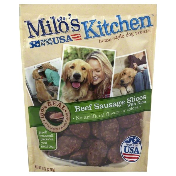 Milo's Kitchen Beef Sausage Slices With Rice Dog Treats, 18-Ounce