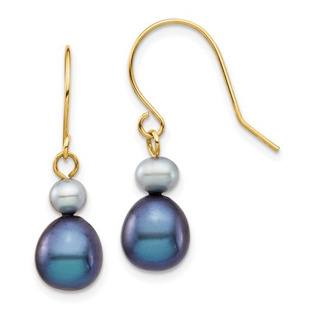 14K Yellow Gold Plated 4-7mm Grey & Black Round & Rice Fw Cultured Pearl Dangle Earrings