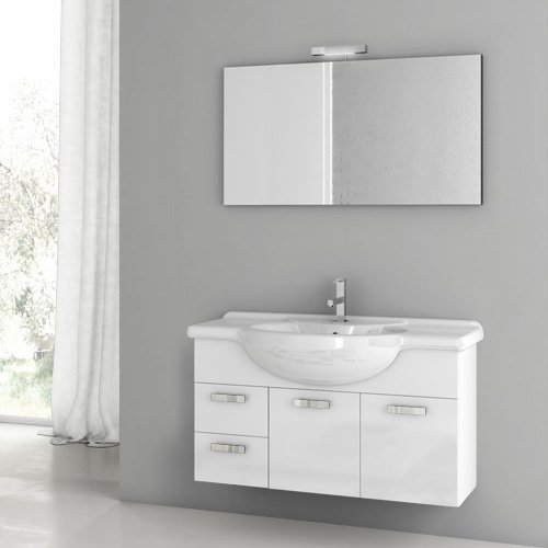 ACF by Nameeks ACF PH03-GW Phinex 39-in. Single Bathroom Vanity Set - Glossy White