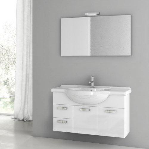 ACF by Nameeks ACF PH03-GW Phinex 39-in. Single Bathroom Vanity Set - Glossy White