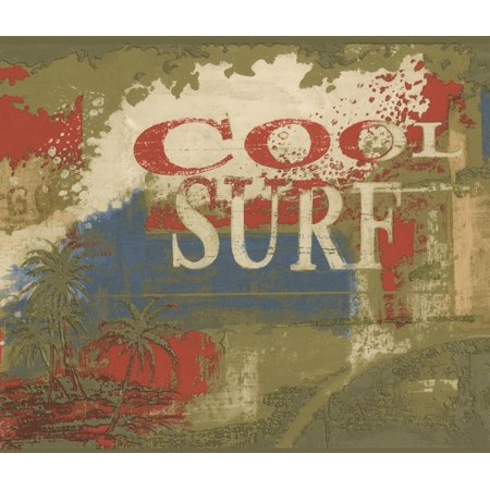 Vintage Cool Surf Faux Paint Multicolor Sports Wallpaper Border Retro Design, Roll 15' x 9'' - image 3 of 3