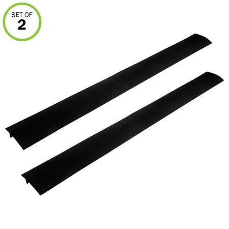 Evelots Stove Counter Gap Filler-Silicone-Spill-Crumb Guard-Washer-Black-Set/2