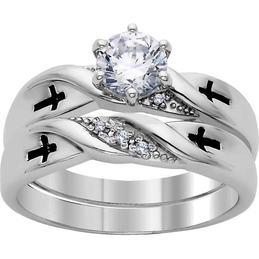 Platinum Plated Silver Cubic Zirconia and Genuine Diamond Cross 2-Piece Wedding Set by Generic