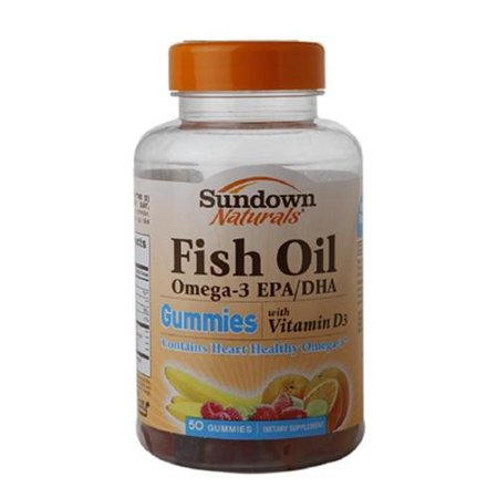 Sundown naturals fish oil omega 3 gummies with d3 50 ea for Daily recommended fish oil