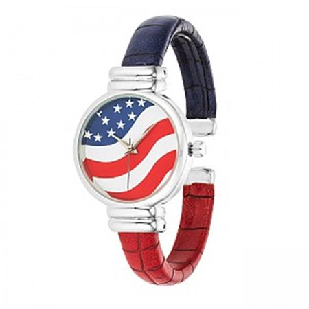 30 mm Bezel Patriotic Cuff Watch for Women - Red, White & Blue Multi Gemstone Watch