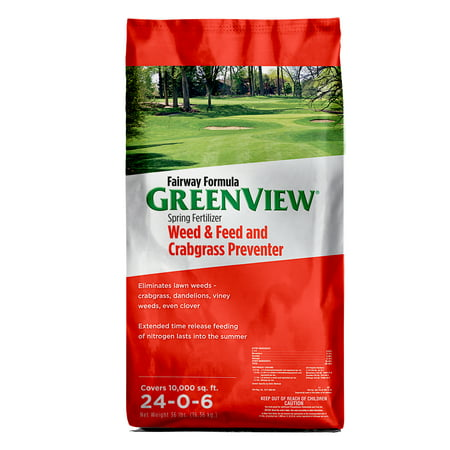 Image of GreenView Fairway Formula Spring Fertilizer Weed & Feed and Crabgrass Preventer- 36 lb. - Covers 10,000 sq. ft.