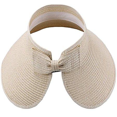 Women's Sun Hats Straw Sun Visor Foldable Summer Roll-Up Open Top Cap Wide Brim Summer Flap Cover Cap Beach Hat Beige