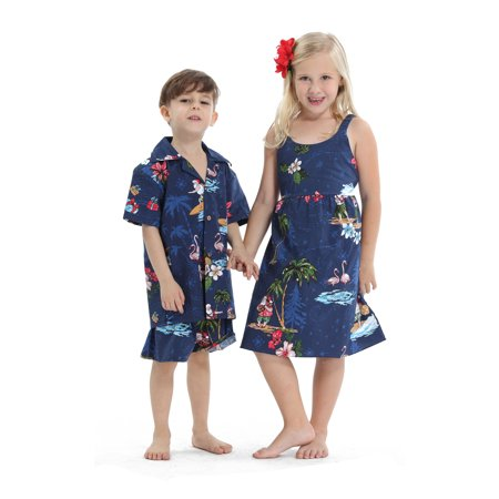 Matching Siblings Boy Girl Hawaiian Luau Outfit Christmas Girl Dress Boy Shirt Shorts Navy Santa - Flamenco Girls
