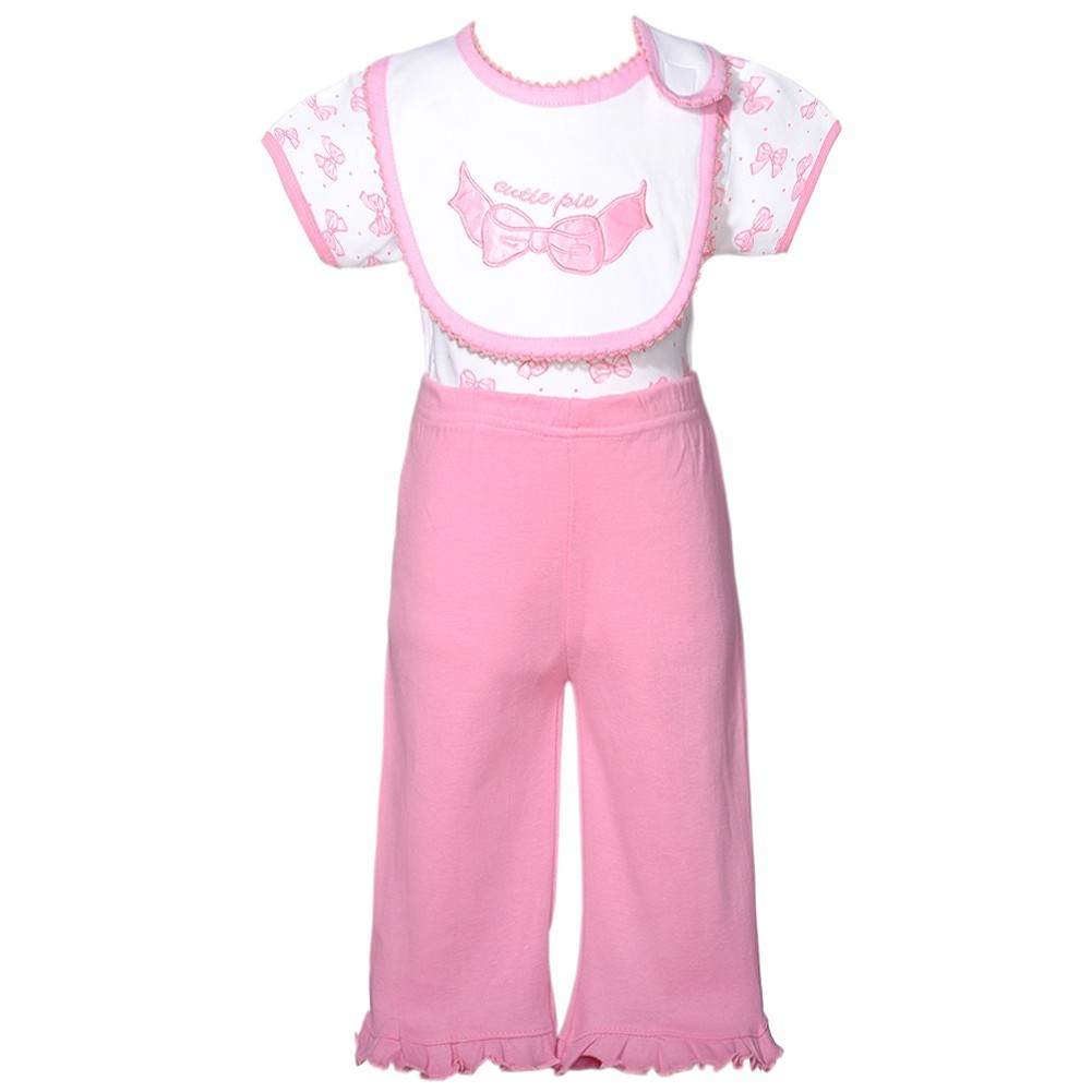 Mon Cheri White Pink Cutie Pie Bow 3 Pc Layette Bib Set Baby Girl 0-3M by Consolidated Clothiers