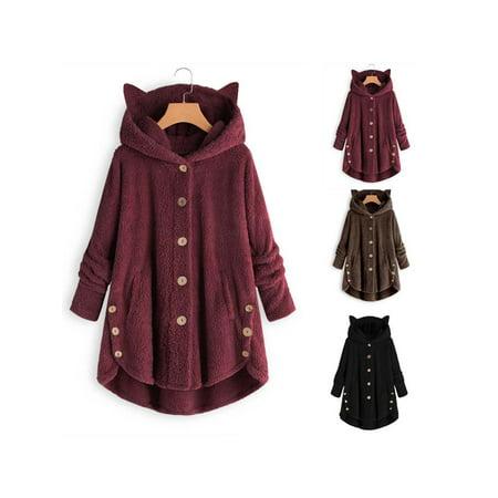 Women Casual Plush Asymmetrical Design Hooded Cute Coat - image 6 of 7