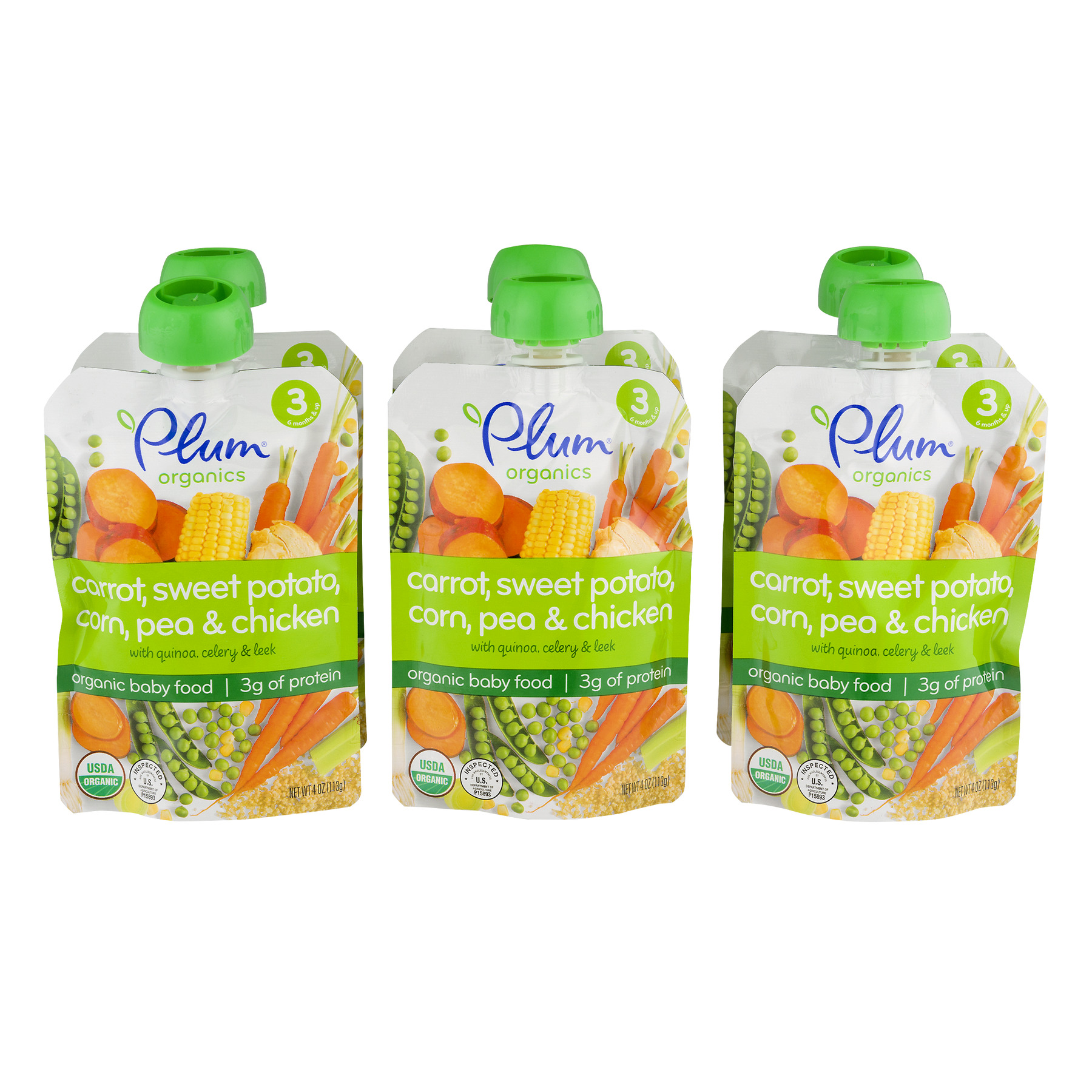 Plum Organics Stage 3 Carrot, Sweet Potato, Corn, Pea & Chicken Baby Food 4 oz. Pouch (Pack of 6)