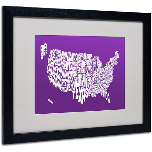 "Trademark Fine Art ""PURPLE-USA States Text Map"" Matted Framed by Michael Tompsett"