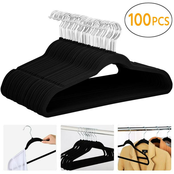 100X 360 Degree Non Slip Velvet Clothes Suit/Shirt/Pants Hangers Black 17.72 × 9.29 × 0.2 inch, Capacity 5 Lb
