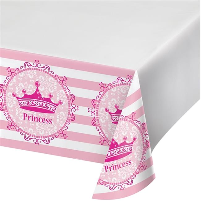 Hoffmaster Group 725081 48 x 88 in. Pink Princess Royalty Plastic Tablecover, Pack of 12