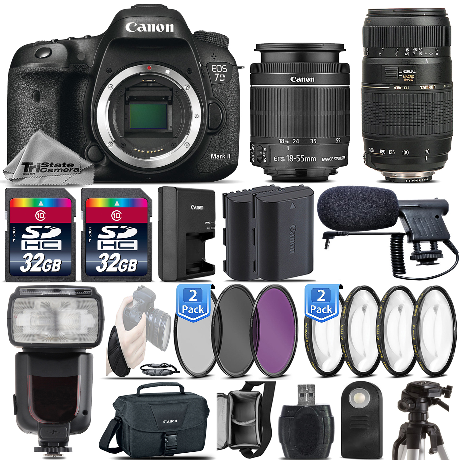 Canon EOS 7D Mark II DSLR Dual DIGIC 6 1080p Camera + 18-55mm IS STM + 70-300mm